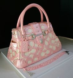 Pink and white Coach Purse Cake  ~ Everything is Edible