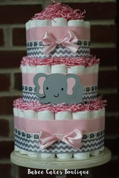 3 Tier Pink and Gray Elephant Diaper Cake by BabeeCakesBoutique