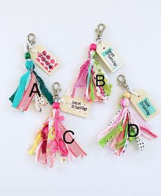 Your place to buy and sell all things handmade Cute Keychain, Tassel Keychain, Diy Ribbon, Ribbon Crafts, Diy Tassel, Tassels, Backpack Keychains, Paper Clip Art, Button Crafts