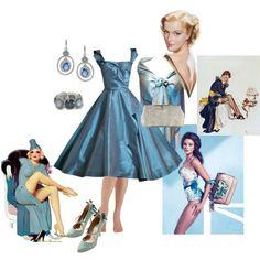 """Razzle-dazzle pinup blue"" by maria-kuroshchepova on Polyvore"