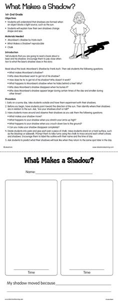 What Makes a Shadow? Lesson Plan from Lakeshore Learning