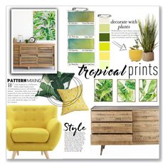 """Tropical Prints: Yellow & Green Mood Board"" by lauren-a-j-reid ❤ liked on Polyvore featuring interior, interiors, interior design, home, home decor, interior decorating, Pier 1 Imports, Barclay Butera, Seed Design and Dot & Bo"