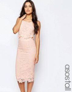 ASOS TALL Lace Floral Scallop Midi Dress