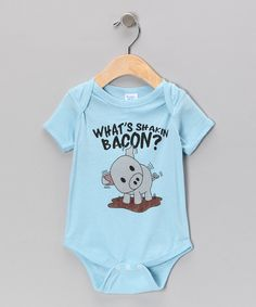 Take a look at the Light Blue 'What's Shakin Bacon?' Bodysuit - Infant on #zulily today!
