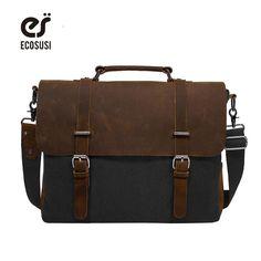 b58a9e424b76 ECOSUSI 2018 Men s Shoulder Bags Canvas Leather Briefcase Vintage Satchel  School Shoulder Messenger Bags Fits 15   Laptop Bag