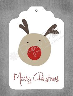 Christmas Gift Tags  Merry Christmas Rudolph  by PaperDollPrinting