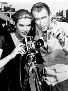 Grace Kelly & James Stewart on the set of Alfred Hitchcock's Rear Window (1954)