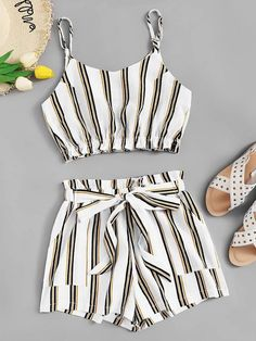 To find out about the Striped Cami Top With Knot Front Shorts at SHEIN, part of our latest Two-piece Outfits ready to shop online today! Crop Top Outfits, Casual Skirt Outfits, Cute Summer Outfits, Pretty Outfits, Stylish Outfits, Cool Outfits, Summer Shorts, Teen Fashion Outfits, Look Fashion
