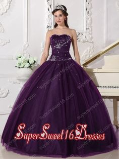 Dark Purple Ball Gown Sweetheart With Tulle Rhinestone Plus Size For Sweet 16 Dresses