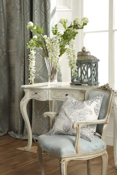 #curtains #floral #cushions Made To Measure Blinds, Beautiful Interiors, Wingback Chair, Window Treatments, French Country, Home Furniture, Accent Chairs, Shabby Chic, Floral Prints