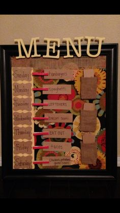 Menu- cork board, fabric, clothes pins, push pins, chipboard letters, tags, card stock, burlap, burlap pockets
