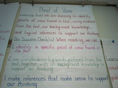 anchor charts for point of view - Google Search