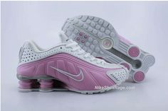 Womens White and Double Pink Nike Shox R4