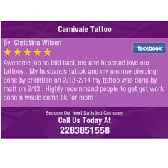 Awesome job so laid back me and husband love our tattoos . My husbands tattok and my...