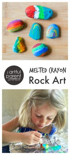Making melted crayon rocks - Craft Art Activity for Kids
