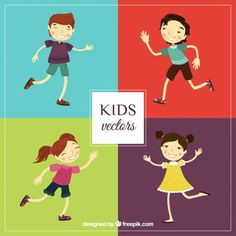 Pack of illustrated kids Free Vector