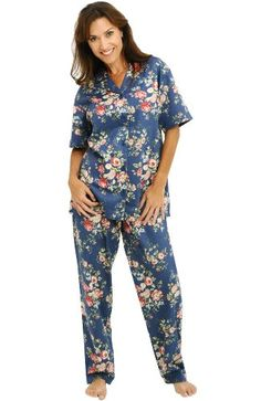 8220b641cd Del Rossa Women s Cotton Short Sleeve Pajama Set with Pj Pants