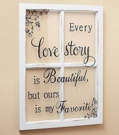 Wall Art Hanging Window Pane Sentiment Love Story Gift Wedding Anniversary NEW