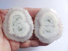 2 Pcs Designer Druzy Slice Loose Geode Agate Gemstone Druzy Matched Pair Rare #Unbranded