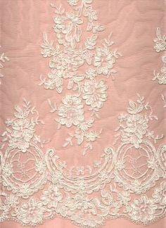 """Poly cotton embroidered bridal lace, 14"""""""" border with 1.5"""""""" match trim on other end 50"""""""" wide"""