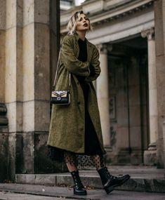 grunge coat with polka dots dress