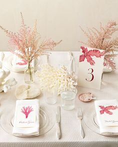 Beachy tablescape with coral details