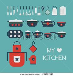 Set of kitchen utensils, isolated objects. Cookware, home cooking background. Kitchenware icons. Modern design. Vector illustration. - stock vector