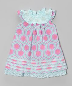 Look at this Trish Scully Child Aqua & Pink Beaded Yoke Dress - Toddler & Girls on #zulily today!