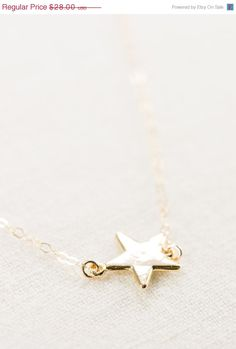 SALE Hokuli'ili'i necklace - gold star necklace, delicate gold pendant necklace, shooting star necklace, gold filled layering necklace, hawa