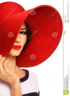 Mujer con sombrero rojo...