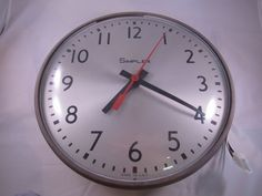 "Vtg Simplex Time Recorder Co. Electric School Clock 13"" Dial Industrial 507-049 #Simplex"