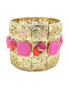 Gold and Pink Stone Elastic Cuff - $24.00 : FashionCupcake, Designer Clothing, Accessories, and Gifts