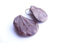 Purple Leaf Earring leather earrings purple earrings by KassShuli, $32.00