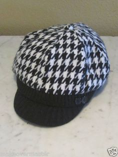 Black White Houndstooth Cabbie Hat Womens One Size Manhattan Hat Company | eBay