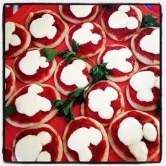 Mickey Mouse Mini Pizza's -Pilsbury thin crust pizza dough, sauce, and fresh mozzarella-