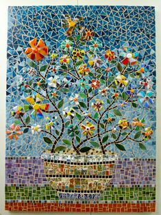 Pot Of Flowers - Delphi Artist Gallery t Stephanie Beta Murphy Mosaic Tile Art, Mosaic Crafts, Mosaic Projects, Mosaic Glass, Stained Glass, Glass Art, Fused Glass, Mosaic Designs, Mosaic Patterns