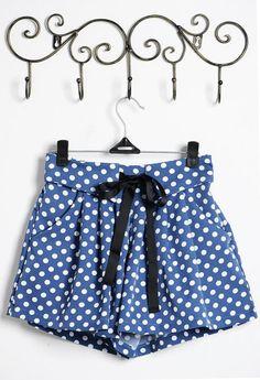 Blue Dot Print Middle Waist Shorts  #SheInside