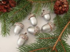 6 Real Acorn Christmas Tree Ornaments Silver with Silver Glitter Caps / Handmade by FeistyFarmersWife - Decoration For Home Woodland Christmas, Christmas Art, Handmade Christmas, Acorn Crafts, Holiday Crafts, Christmas Tree Ornaments, Christmas Wreaths, Ornaments Ideas, Handmade Ornaments