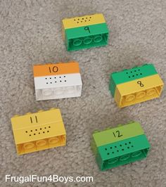 Several activities for learning letters and numbers with Duplo blocks and a wipe-off marker - these are fun ideas!