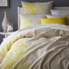 Embroidered Leaf Border Duvet Cover, Twin, Citrus Yellow