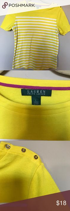 "[Ralph Lauren] Yellow/White Striped Tee Size L 22.5"" long 17"" armpit to armpit  7.5"" sleeves Ralph Lauren Tops Tees - Short Sleeve"