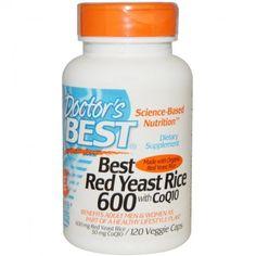 อาหารเสริม coq10 ยี่ห้อ Doctor s Best, Best Red Yeast Rice 600, with CoQ10, 120 Veggie Caps