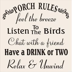 Stencils PORCH RULES  12x12 Signs and Pillows by SuperiorStencils