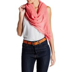 Blue Pacific Solid Tissue Cashmere Blend Scarf ($40) ❤ liked on Polyvore featuring accessories, scarves, coral, blue shawl and blue scarves