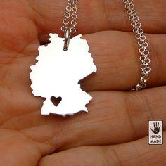 Deutshland Germany sterling silver necklace by StefanoArt on Etsy