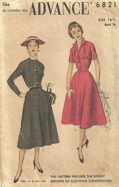 Advance 6821 Vintage 50s Sewing Pattern Dress by studioGpatterns, $12.50