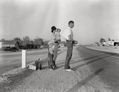 August 1936. Oklahoma farm family on highway between Blythe and Indio.