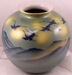 Japanese-Vase-Painted-Flying-Birds-Blue-Heron-Geese-or-Swans-Over-Mountains-8-H