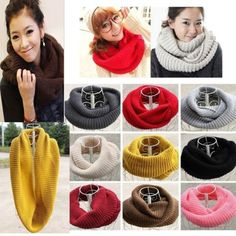 1X-Red-Men-Women-Shawl-Winter-Warm-2-Circle-Cable-Knit-Cowl-Neck-Long-Scarf