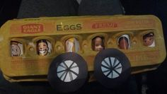 A fun activity to go along with The Wheels on the Bus song. Paint an egg carton yellow, add paper wheels and pictures of kids in the window. Would be fun to put pictures of the entire family in the windows! Preschool Ideas, Preschool Crafts, Crafts For Kids, Daycare Lesson Plans, Wheels On The Bus, Therapy Ideas, School Projects, Fall Crafts, Fun Activities